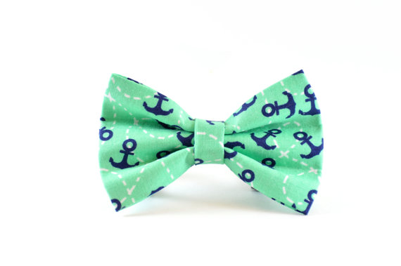 Свадьба - Teal Anchors Dog Bow Tie - Turquoise Mint Aqua Blue Green Seafoam Nautical Navy Anchor Dog and Cat Bow Tie