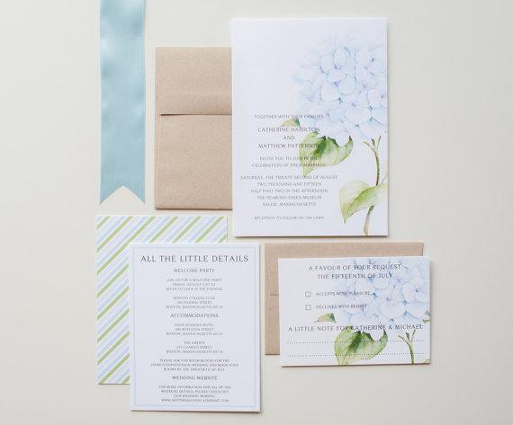 Свадьба - Hydrangea Garden Wedding Invitations, Rustic Garden Wedding, Vintage Botanical Invitations, Blue and Green