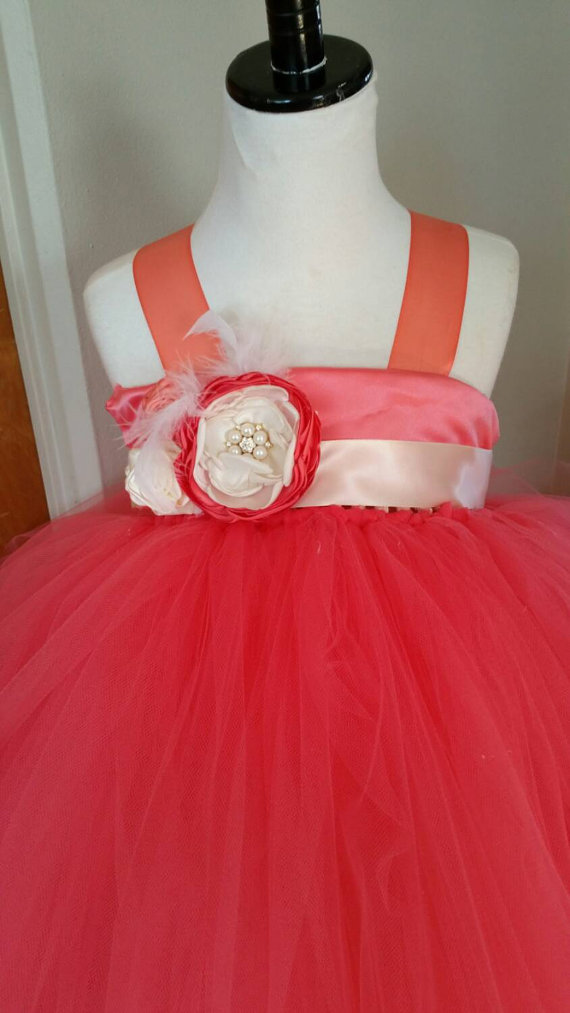 Mariage - Coral ivory flower girl dress/ coral flower girl tutu dress/ coral tutu dress/ coral and ivory flower girl tutu dress
