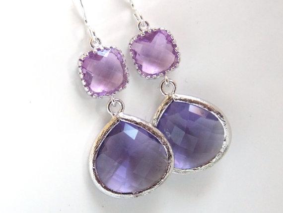 Hochzeit - Purple Earrings, Dangle, Lavender, Lilac, Violet, Drop, Silver, Wedding Jewelry, Bridesmaid Earrings, Bridal Jewelry, Bridesmaid Gift