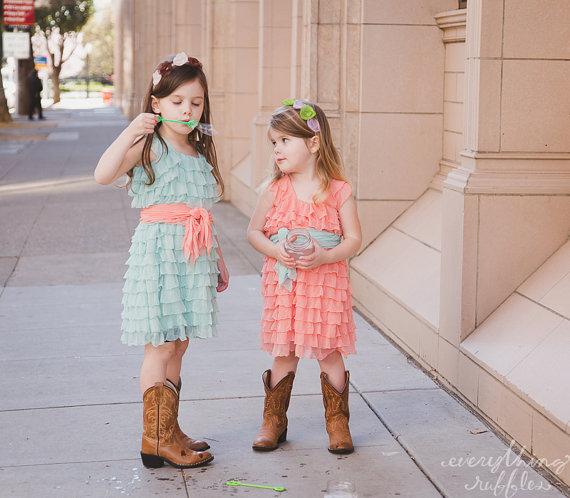 Свадьба - Mint Flower Girls Dress with Peach Sash, Wide Straps/Cap Sleeves, 2 Inch Ruffles