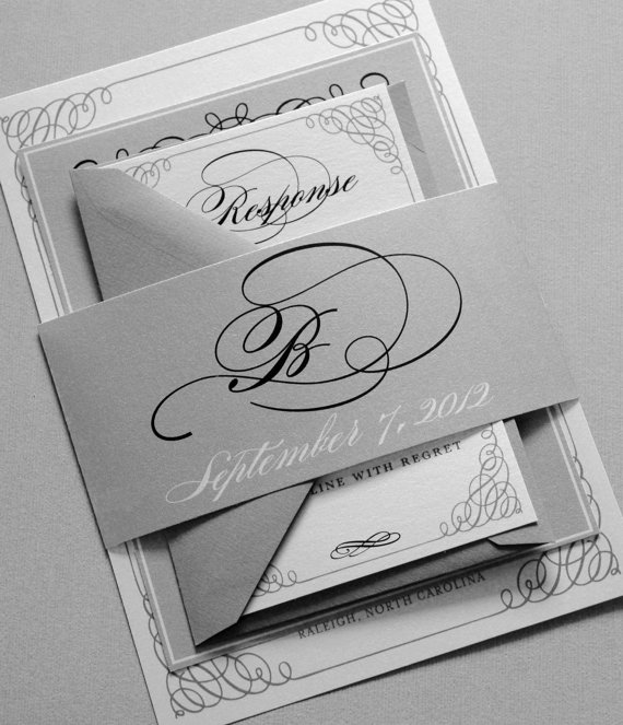 Black And White Wedding Invitations Gray Belly Band Silver Grey