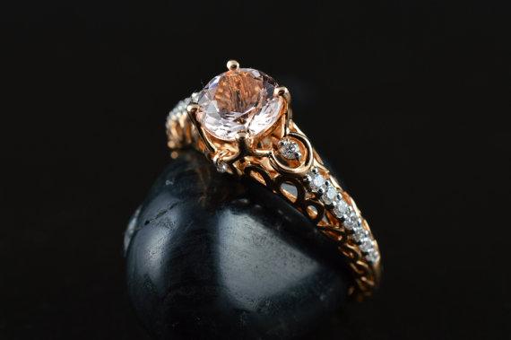 Mariage - Isabella, Morganite Rose Gold Filigree Engagement Ring