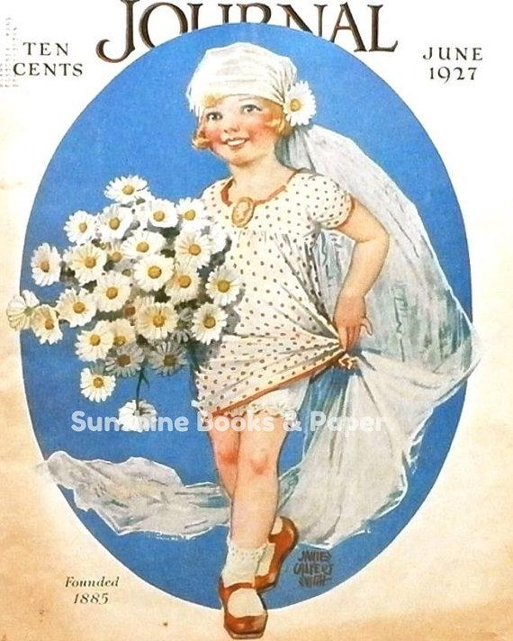 Свадьба - June Bride - Vintage Magazine Cover Art - 1927 - Wedding Art - Flower Girl - Bouquet - Vintage Print - Craft Supplies - Paper Ephemera