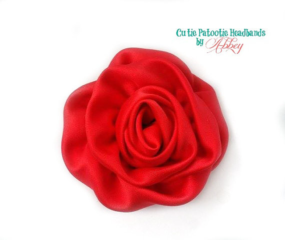 "Mariage - Red Rolled Satin Rose 3"" Flower Hair Clip, Christmas / Valentine's Day Hair Accessories, Bridesmaids / Flower Girl Flowers"