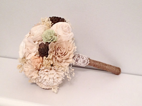 Свадьба - Small Wedding Bouquet made with sola flowers - choose your colors - natural bouquet - balsa wood - Alternative bouquet - bridesmaids bouquet