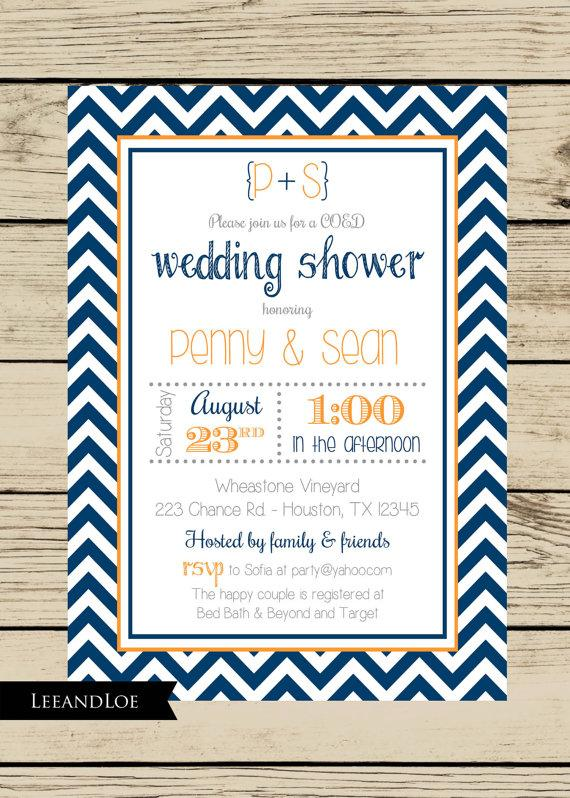 chevron wedding shower coed bridal rehearsal navy orange