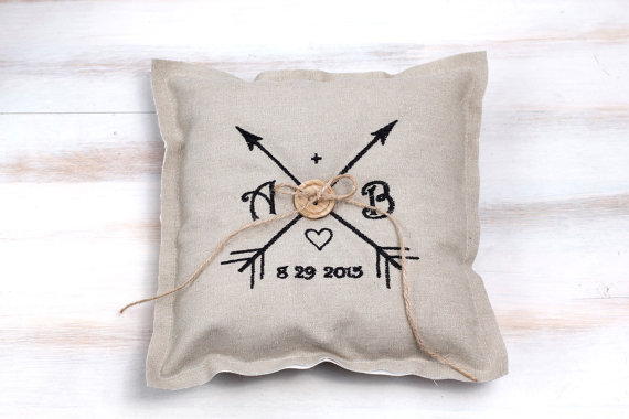 Embroidery wedding ring pillow bearer bridal