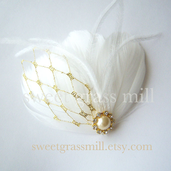 White Feather Fascinator Ostrich Feathers Gold Veil Netting Bridal Clip