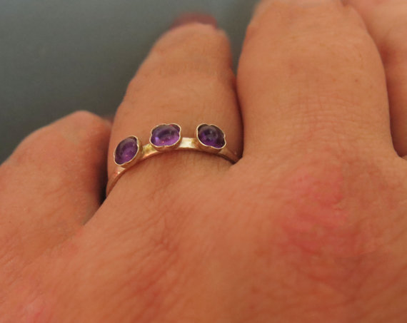 Hochzeit - Amethyst engagement ring, Amethyst stacking ring, Sterling silver Amethyst ring, 3 stone ring