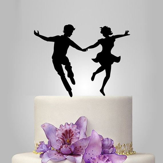 Свадьба - Funny wedding cake topper, lindy-hop dancer silhouette, groom and bride silhouette cake topper, personalize cake topper