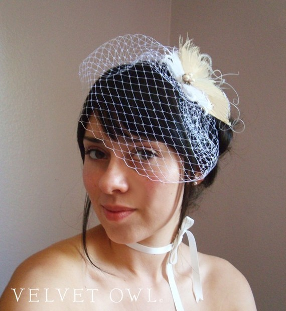 Hochzeit - Bridal peacock comb or clip veil hair fascinator and detachable French Russian netting birdcage veil - JULIAN SET