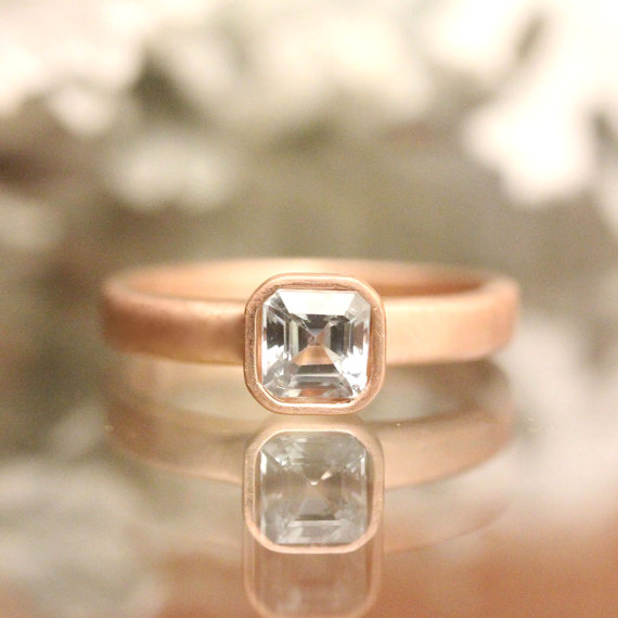 genuine sapphire 14k gold ring gemstone ring asscher cut ring eco friendly engagement ring stacking ring rose gold ring made to order - Eco Friendly Wedding Rings