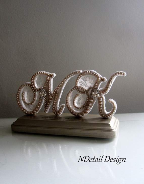 Свадьба - Wedding Cake Topper & Display Two Letter  Monogram Custom Vintage Pearl and Champagne Lace for Vintage or Rustic Weddings