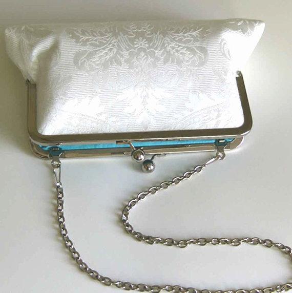 Hochzeit - Wedding Clutch Purse Bridal Ivory Damask - Tiffany Blue Silk Lining