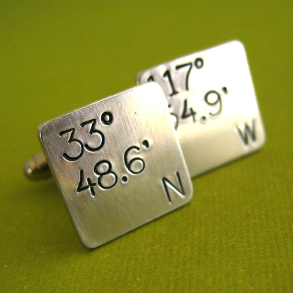 Свадьба - Latitude and Longitude Square Cufflinks - Hand Stamped Cuff Links in Sterling Silver, Brass, Copper, or Aluminum - Custom Groomsmen Gifts