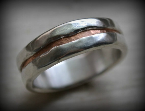 Свадьба - mens wedding band - rustic fine silver and copper ring - handmade artisan designed wedding or engagement band - customized