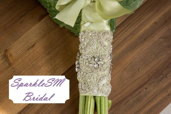 Свадьба - Rhinestone Bridal Bouquet Wrap, Crystal Wrap, Beaded Floral Wrap, Bridal Bouquet, Wedding Flowers, SparkleSM Bridal Sashes - Annabelle