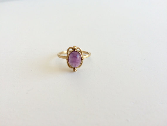Vintage Gold Ring Amethyst Ring 10kt Gold Ring Purple Stone Ring