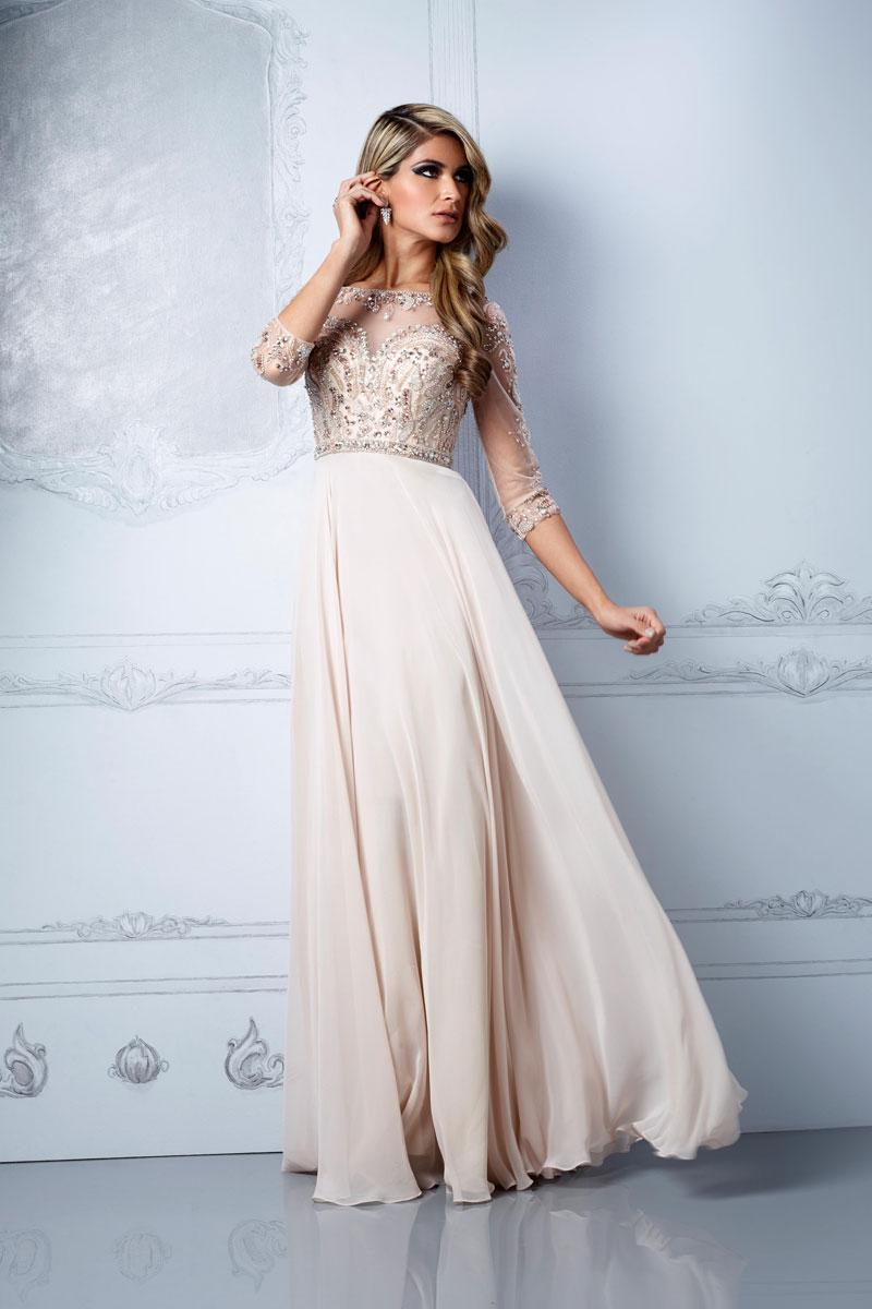 زفاف - natural waist chiffon,tulle a-line long scoop prom dress - Cheap-dressuk.co.uk