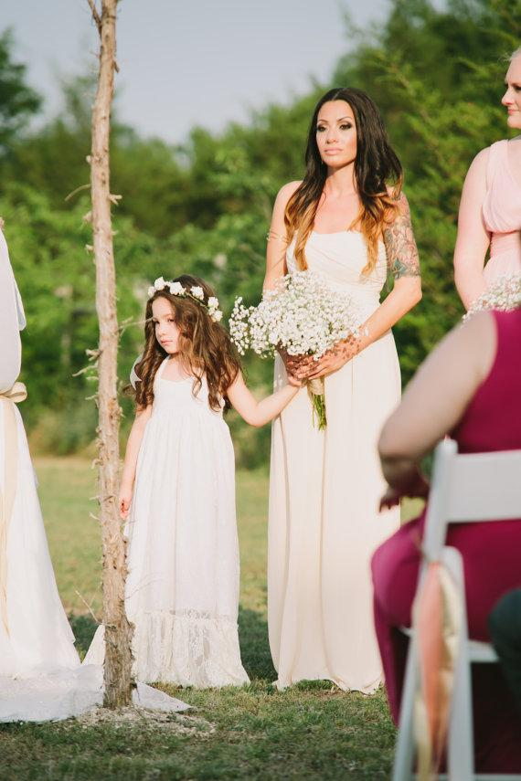 Wedding - Girls Lace Maxi Dress, Lace Flower Girl Dress, Ivory Lace Dress, White Lace Dress, Rustic Wedding, Baptism Dress, Boho Dress