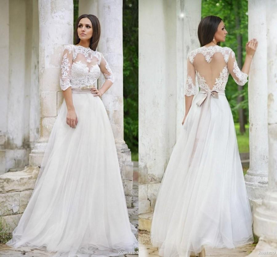 Vintage roberto motti 2015 wedding dresses lace bridal for Wedding dresses with half sleeves