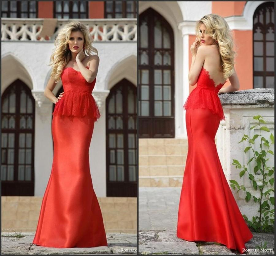 Свадьба - Stunning Mermaid Red Evening Dresses 2015 Roberto Motti Sweetheart Backless Trumpet Floor Length Lace Bodice Formal Pageant Party Online with $113.93/Piece on Hjklp88's Store
