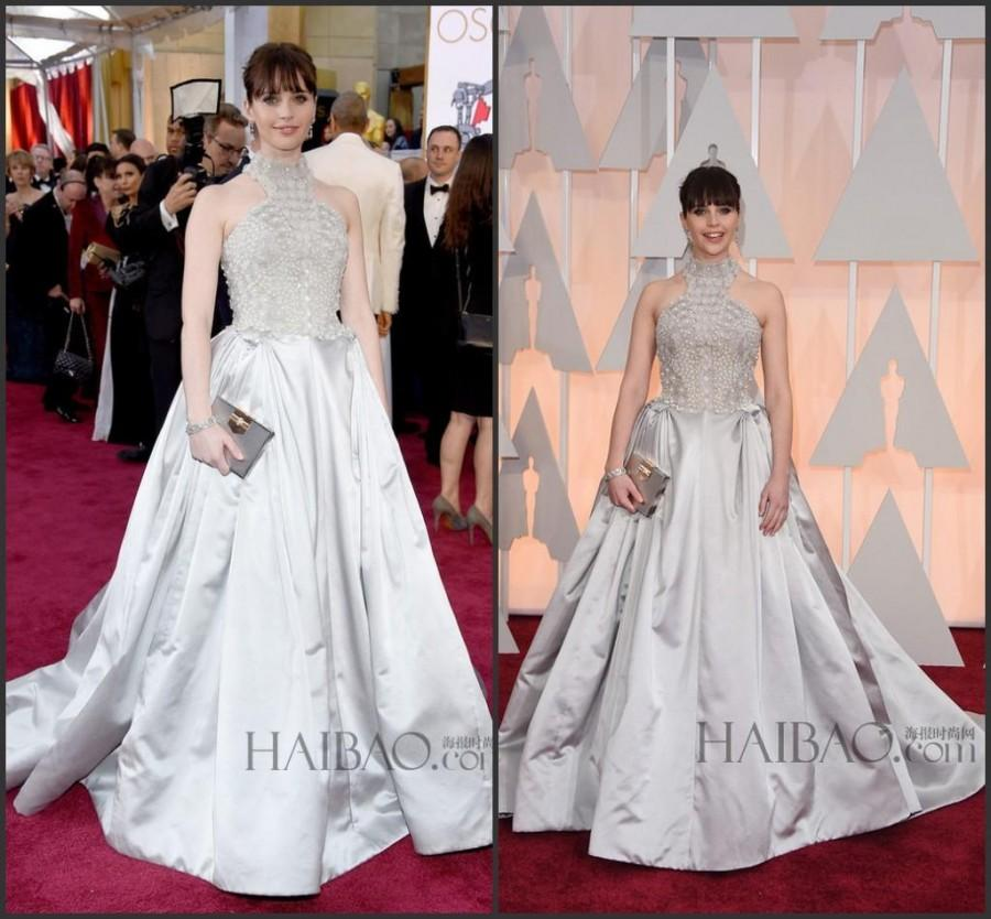 Свадьба - New Style Beaded Evening Dresses 87th Oscar Felicity Jones A-Line Satin Celebrity Red Carpet Silver High Neck Party Dress Ball Gowns Online with $129.95/Piece on Hjklp88's Store