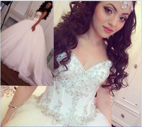 Wedding - Real Image Wedding Dresses 2015 Tulle Sweetheart Fall Cheap Court Train Beads Crystal Vintage Ball Gowns A-Line Bridal Dress Custom Online with $130.84/Piece on Hjklp88's Store