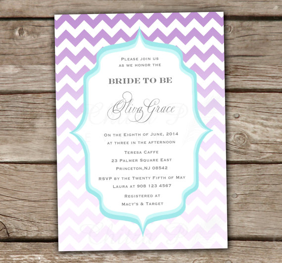 purple bridal shower invitation printed or printable chevron blue baby engagement party couples shower wedding ombre 006