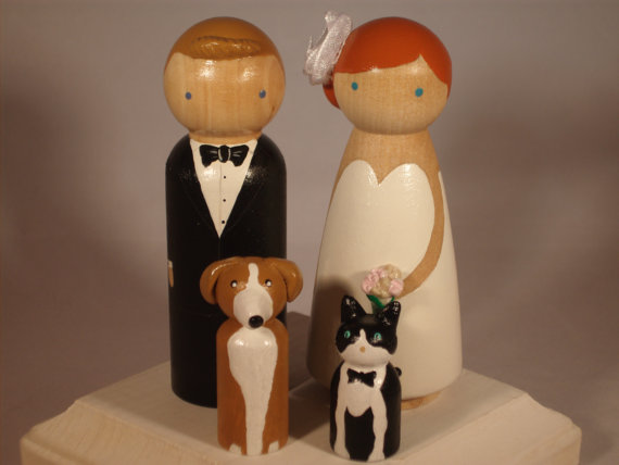 Свадьба - Custom Wedding Cake Toppers with Two Pets Fully Customizable---3-D Accents
