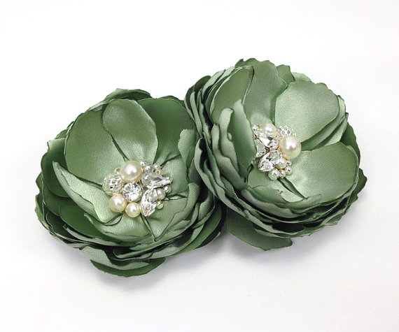 Wedding - Sage Green Hair Flower Clip - Brooch Shoe Clip - Bride, Bridesmaid, Family Photo Prop Female Gift - Mother Sister Teacher - Pick Your Color