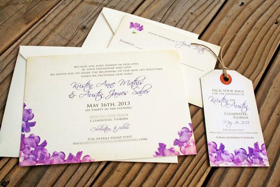 Свадьба - Budding Wedding Invitation - Purple or Coral Flowers  - Design Fee
