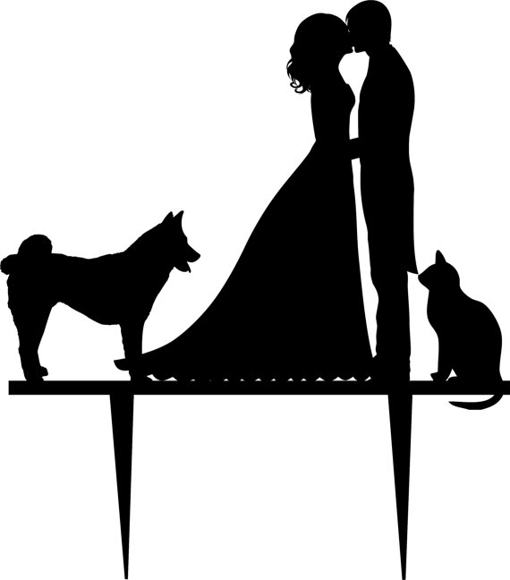 Свадьба - Wedding Cake Topper Silhouette Groom and Bride, Acrylic Cake Topper