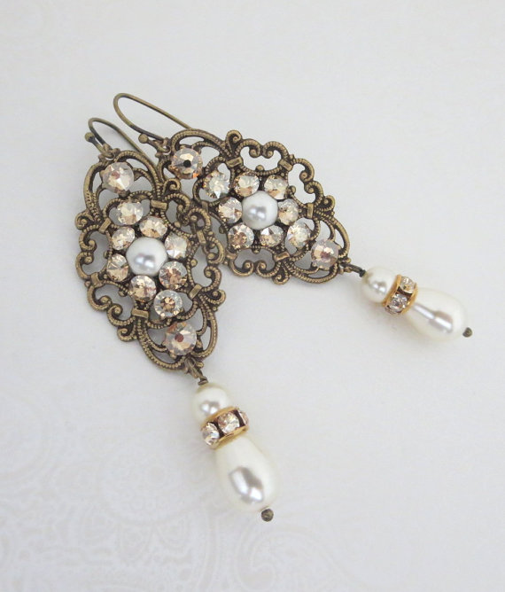 Pearl Bridal Earrings Crystal Wedding Vintage Style Jewelry Swarovski Antique Br