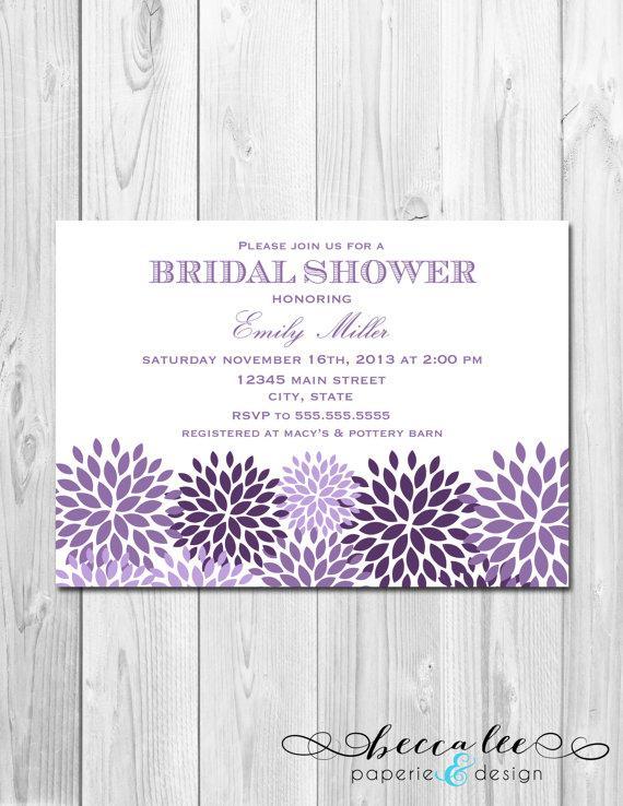 Wedding - Bridal Shower, Birthday Party, Bachelorette Party, Engagement Party Invitation - Purple & White Pom Poms Landscape - DIY - Printable