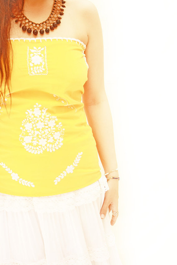 Hochzeit - Sunny Amarillo Mexican blouse embroidered ruffled crochet Tube Top by Aida Coronado