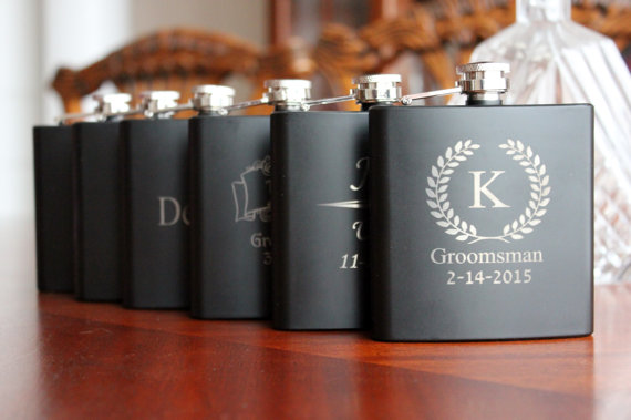 Wedding Gift Ideas For Bestman And Ushers: 7 Personalized Black Flasks, Groomsmen, Best Man, Usher