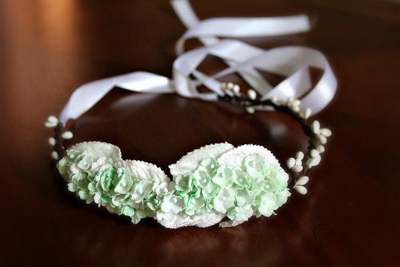 Hochzeit - Mint Green Bridal Floral Headband, Mint Green Flower Crown. Woodland, spring, bridesmaids, Weddings, mint wedding, Bridal Hair Crown
