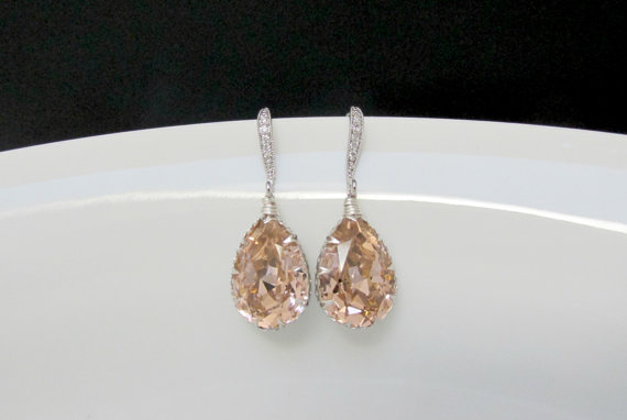 Swarovski Blush Earrings Sw Bridal Pink Bridesmaids Crystal Champagne Wedding Jewelry