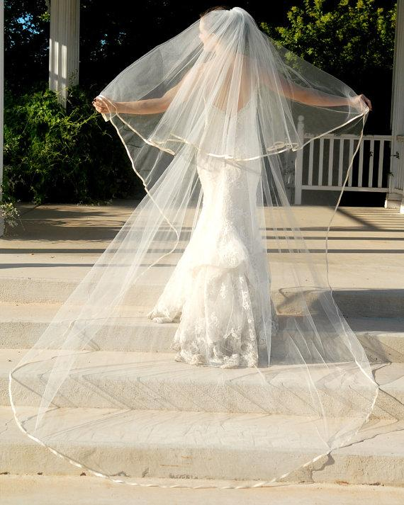 Mariage - Full Cathedral Wedding Veil - Bridal Veil - Drop Style with Satin Edge and Blusher Layer - Memphis