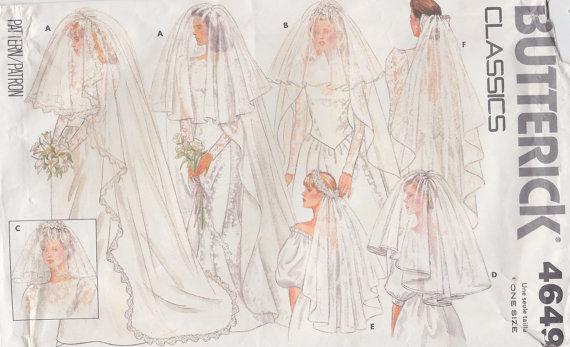 زفاف - 1987 Indispensable Set of Wedding Veils Vintage Pattern, Butterick 4649, Blusher, Cathedral, Fingertip, Waist Length, Circular Bird Cage