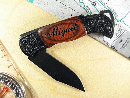 Wedding - Engraved Black Decor Folding Pocket Knive Personalized Groomsman Best Man Ring Bearer Father of the Bride Gift Wedding Gift Keepsake