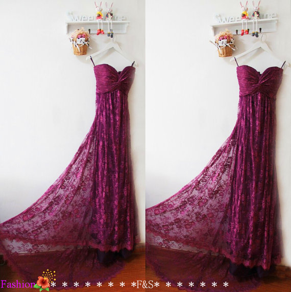 Boda - Mermaid Prom Dress,Purple Lace Bridesmaid Dress,Plum Empire Sexy Lace Evening Prom Dress,Mint Lace Bridesmaid Dress,Lace Dresses Prom Long