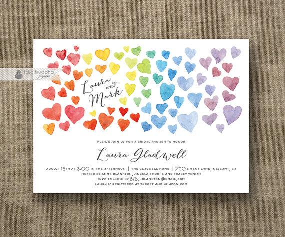 Свадьба - Rainbow Hearts Bridal Shower Invitation Ombre Watercolor Modern Whimsical Colorful Wedding FREE PRIORITY SHIPPING or DiY Printable - Laura