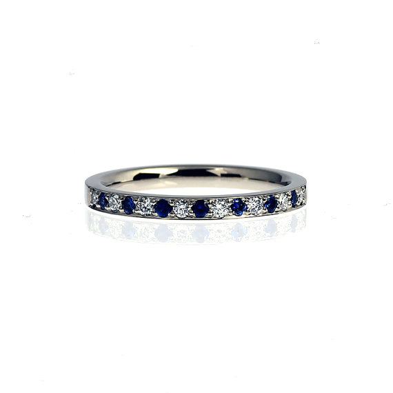 blue sapphire and diamond wedding band white gold ring half eternity band blue sapphire unique wedding thin engagement blue wedding