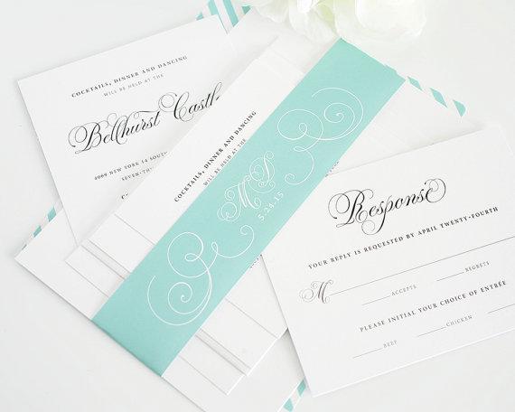 Hochzeit - Aquamarine Wedding Invitation - Mint, Light Blue, Blue-Green, Teal, Aqua, Light Blue, Tiffany Blue - Wedding Invite  - Sample Set
