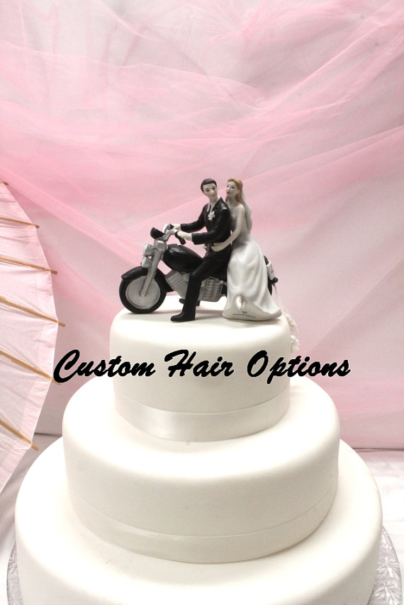 Wedding Cake Topper Personalized Motorcycle Couple Bride And
