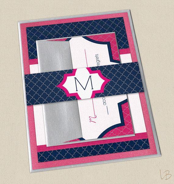 navy and pink wedding invitation sample layered wedding invite