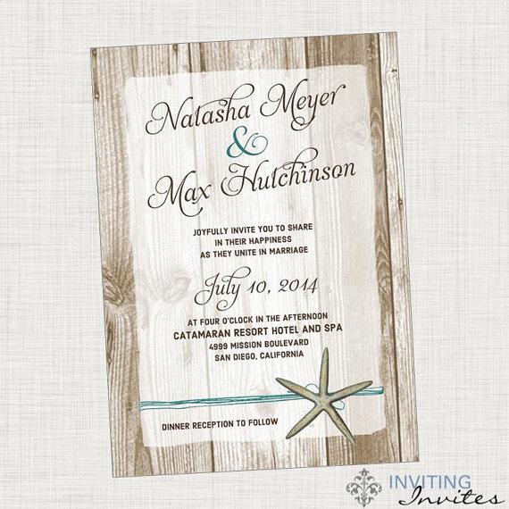 Mariage - Starfish Wedding Invitation Destination Beach Wedding- Printable Digital